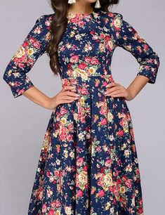 8dd5ce6889 Simple Flavor Women's Vintage Maxi Dress 3/4 Sleeve Floral Long Dress Floor  Length at Amazon Women's Clothing store: