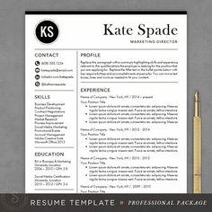 professional resume template cv template mac or pc modern professional resume template instant download resume the kate