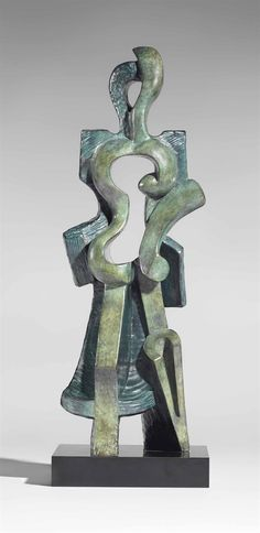 Alexander Archipenko (1887-1964) Walking signed, dated, numbered and inscribed '5/8F Archipenko Paris 1912' (on the right) and inscribed 'apres moi viendront des jours quand cette oeuvre guidera et les artistes sculpteront l'espace et le temps' (on the left); stamped with the foundry mark 'Modern Art Fdry NY' (at the back) bronze with polychrome patina in blue and green Height: 26 1/2 in. (67.3 cm.) Conceived in terracotta in 1912; this bronze version cast circa 1968 in an edition of eight