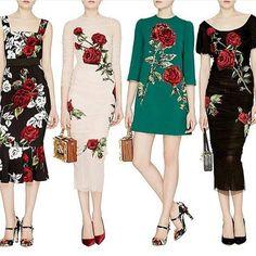Dolce&Gabbana Printed Red Rose Dresses Designs