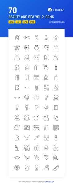 Beauty And Spa Vol 2  Icon Pack - 70 Line Icons