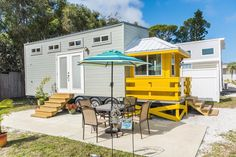 This tiny beach house was built by Upper Valley Tiny Homes for the Go Siesta rental resort in Sarasota, Florida. Available for nightly rental.