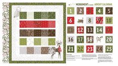 Merriment Advent Calendar Panel by Moda Fabrics: Merriment is a joyful collection by Gingiber for Moda Fabrics. Include some darling animals in your next quilt project with this fabric panel! This panel measures at approximately x Longarm Quilting, Quilting Projects, Quilting Fabric, First Sewing Projects, Fabric Shack, Deer Illustration, Diy Advent Calendar, Shabby Fabrics, Quilt Kits