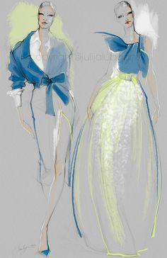 Fashion Week 2016 by Julija Lubgane at Coroflot.com Bright new fashion illustration of Carolina Herrera designs.