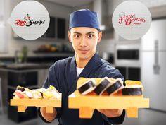 """Neste mês dos Pais, o que vai ter de filho se passando por """"Sushi Man"""" não é brincadeira.  Oferta, Dia dos Pais, no Ryo Sushi. 40 PEÇAS por apenas R$34,00. Aproveite, válida só para quem pede pelo Fome Demais.  www.fomedemais.com/ryosushi"""