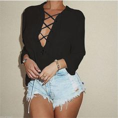 Deep V Front Lace Up Blouse