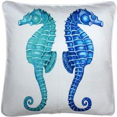 This square Seahorse Reflect Throw Pillow features two seahorses, positioned back to back in beautiful shades of teal, turquoise and tropical blues. The pillow is mesmerizing and calming but demands to be noticed. A great center piece on a bed, large sofa, or in any nautical decor theme. Aon original design.