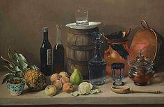 José Agustín Arrieta Dining Table with China Bowl of Olives 19th century
