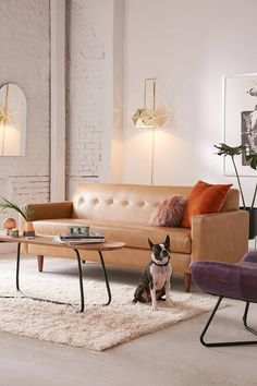 Sydney Recycled Leather Sofa | Urban Outfitters