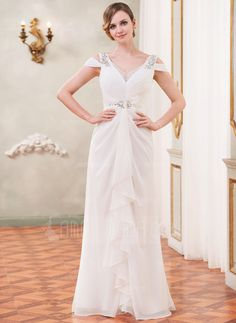 Wedding Dresses - $202.99 - Trumpet/Mermaid Off-the-Shoulder Floor-Length Chiffon Tulle Wedding Dress With Beading Sequins Cascading Ruffles