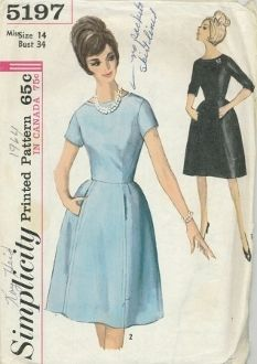 An original ca. 1960's Simplicity Pattern 5197. Slightly flared dress, detailed with top-stitching at scooped neckline and at side front seams, has set-in sleeves and back zipper closing. A self fabric or purchased belt may be worn. Bodice has underarm sections and is dart fitted. Skirt, with five gores, has concealed pockets in front side seams, and is fitted at waistline with soft pleats and darts. V. 1 has below elbow length sleeves. Short sleeves in V. 2.