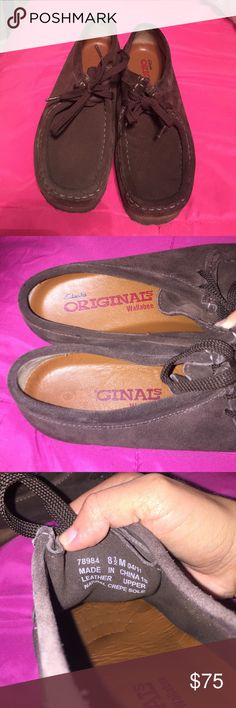 Clarks wallabees GREAT condition worn 3 times Excellent condition no wear and tear whatsoever except darkening on the bottom due to the material. Just like new Clarks Shoes Ankle Boots & Booties