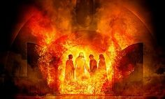 """""""Did not we cast three men bound into the midst of the fire?...Lo, I see four men loose, walking in the midst of the fire, and they have no hurt; and the form of the fourth is like the Son of God."""" Daniel 3:24-25. Google Image Result for http://www.swordofthespirit.net/bulwark/shadrach-meshach-and-abednego077.jpg"""