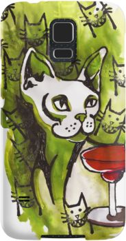 Emerald Cats with Margarita On Samsung Phone Cover by Imogen Smid - Cat Art, Green Phone Cover, Illustration, Phone Accessories, Redbubble, Smiling Cats
