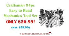 Get the Craftsman 94 pc Easy to Read Mechanics Tool Set for ONLY $26.99 (was $59.99)! Don't miss out on this deal!  Click the link below to get all of the details ► http://www.thecouponingcouple.com/craftsman-94-pc-easy-to-read-mechanics-tool-set/ #Coupons #Couponing #CouponCommunity  Visit us at http://www.thecouponingcouple.com for more great posts!