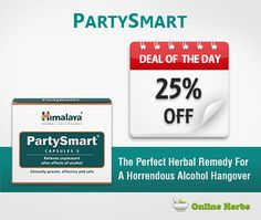 Deal Of The Day: PartySmart Capsules From Himalaya at 25% Off http://www.onlineherbs.com/party-smart-capsules-from-himalaya.html?utm_source=pinterest&utm_medium=product-party-smart-capsule&utm_term=deal-of-the-day&utm_campaign=dec-smo