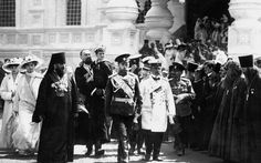 memory-of-the-romanovs:  Nicholas II and his children comes out of the Trinity Cathedral. Kostroma. 1913. (×)