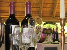 Bush Wedding, Red Wine, Wedding Venues, Alcoholic Drinks, Bridal, Bottle, Glass, Wedding Reception Venues, Wedding Places