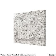 Vintage Map of Rome Italy (1721) 2 Canvas Print