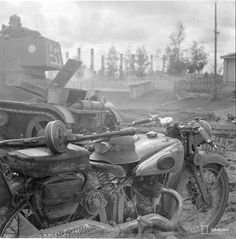 Finnish motorcycle and tank, Russo-Finnish front, 1941.