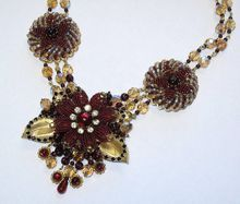 Artisan Seed Beaded Floral Flower Red Smoked Topaz Collage Necklace By Inna Victoria (Custom) from Classic Meets Modern on Ruby Lane