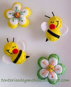 Felt bee and flowersbumble bees & flowers (tutorial in Spanish)moldes de fieltro I think these would make neat barrettes for a little girl.darling bees for the flower pageFelt ornament or pin: daisy flower, cute bees Luty Arts Crochet Felt Diy, Felt Crafts, Easter Crafts, Fabric Crafts, Crafts To Make, Sewing Crafts, Sewing Projects, Felt Projects, Book Projects