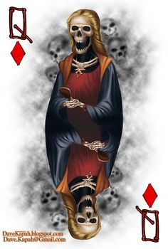 Playing Cards by David Kapah: The Queen of Diamonds   more here: http://playingcardcollector.net/2015/06/18/playing-cards-by-david-kapah/