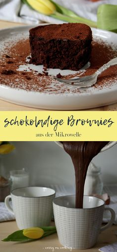 Fast brownies from the microwave - Rezeptsammlung - Kochen und backen auf carry on cooking Brownie In A Mug, Vegan Brownie, Mug Recipes, Baking Recipes, Easy Snacks, Easy Desserts, Microwave Brownie, Microwave Dinners, Fabulous Foods