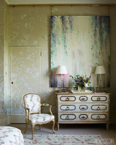 chinoiserie + painterly florals in a dusty pastel palette