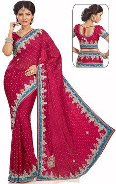 #RaniPink Satin Chiffon #Bridal #Saree with Blouse #IndianBridalSaree