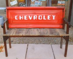 Vintage Chevrolet Tailgate Bench Reclaimed Barn Wood and Metal Rustic Steel Industrial Work bench Shop Garage Decor Office Mountain Cabin on Etsy, $800.00
