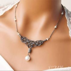 OOAK Fine Silver Celtic Knot Lohne Necklace with Timeless Freshwater Pearl Oxidized Silver Jewelry Anniversary Gift for Her Kazaziye Necklace - OOAK fine silver celtic knot bib necklace with freshwater pearl timeless jewelry -Express shipping - Celtic Knot Jewelry, Jewelry Knots, Pearl Jewelry, Silver Jewelry, Wire Jewelry, Silver Ring, Silver Earrings, Celtic Knots Diy, Silver Bracelets