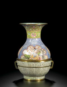 C18th Chinese ENAMEL VASE on gilt metal WITH FIGURES and 'trompe l'oeuil' decoration;MARK AND PERIOD OF QIANLONG