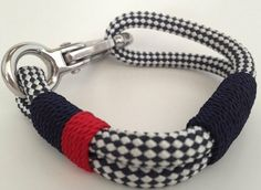 Navy & White Checked Nautical Rope Bracelet with Navy and by Buoy6, $21.95