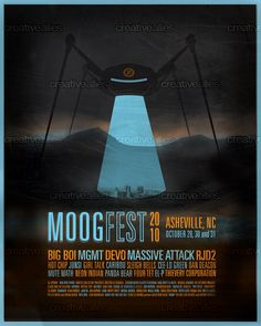 This design by ericmitchellcox won the contest to create the official commemorative poster for #Moogfest 2010