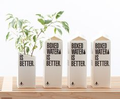Boxed water is better than bottled. Easier to compost and I think i heard somewhere that the idea started in GR. Boxed Water Is Better, Water Packaging, Water Branding, Food Packaging, Box Water, Water Company, Aqua, Welcome Gifts, Packaging Design Inspiration