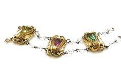 Czech Glass Bracelet 1920s Art Deco Gold Tone Filigree Open