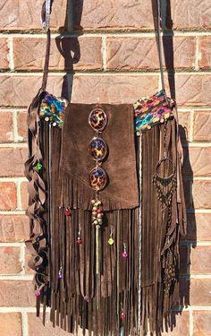 Handmade Brown Suede Leather Fringe Bag Leopard *Safari* Boho Hippie Purse B.Joy  | eBay