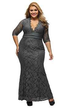 8ba91eb46f9 Lalagen Womens Plus Size 34 Sleeve V Neck Lace Evening Party Wedding Dress  Grey XXL -
