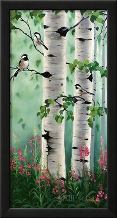 'Chickadees In The Birch Trees' by Julie Peterson Painting Print Best Picture For Tree Art For Your Taste You are looking for something, and it is going to Painting & Drawing, Painting Prints, Watercolor Paintings, Drawing Drawing, Painting Canvas, Acrylic Paintings, Acrylic Art, Art Print, Birch Tree Art