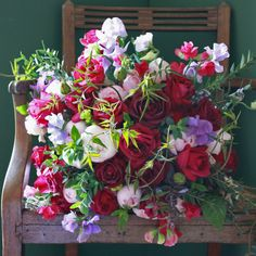 English Roses & Sweet Pea Bouquet