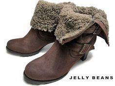 【L(24cm~24.5cm)】【あす楽】ジェリービーンズ Jelly Beans折り返しファーショートブーツダークブラウン【レディース・靴】