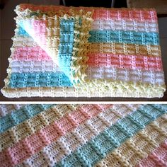 Crochet For Children: Wonderful Baby Blanket - staggerd brick rows Free Diagram