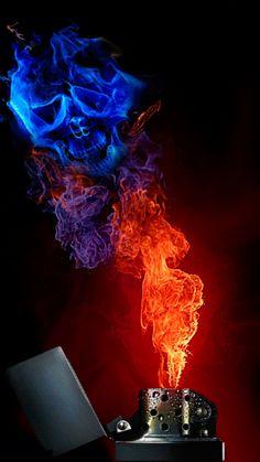 flame-on skull