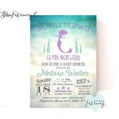 Printable mermaid baby shower invitations shabby chic little mermaid mermaid baby shower invitation little mermaid by afterfebruary filmwisefo