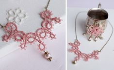 Handmade tatted jewelry set: necklace and earrings in dusty rose with brass finishings