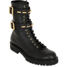 Alexandre Vauthier Women 30mm Buckled Leather Combat Boots (1,074 CAD) ❤ liked on Polyvore featuring shoes, boots, rubber sole boots, military boots, leather boots, leather combat boots and combat boots