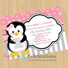 High Quality DIY Pink And Grey Penguin Collection  Use For Birthday, Baby Shower, Birth  Announcement