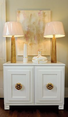 Rivers Spencer Interiors mixes traditional style with current brands to create completely irreplaceable pieces. As the only outlet in New Orleans to feature Amy Howard Home, this white lacquered Anna chest from her collection is already special, and the gilt pulls simply tie the look together.