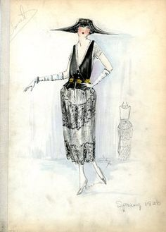 """Evening Dress, Doucet, Spring 1920. Black and white dress with yellow flower embellishment at waist; V-neck bodice with peplum waist; short, lace sleeves; draped, lace panels on tea length skirt; white, elbow length gloves; oversized black hat. (Bendel Collection, HB 033-01)"", 1920. Fashion sketch. Brooklyn Museum, Fashion sketches. (Photo: Brooklyn Museum, SC01.1_Bendel_Collection_HB_033-01_1920_Doucet_SL5.jpg)"